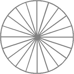fraction circle divided into twentieths