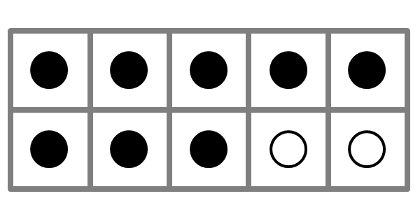 large ten frame showing eight