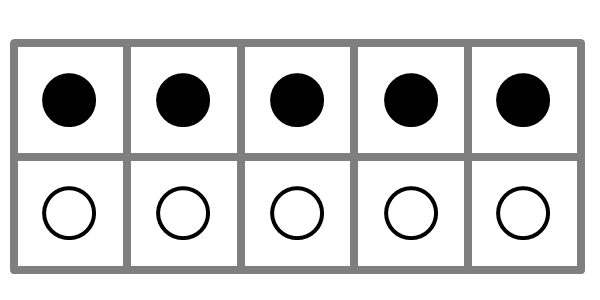 large ten frame showing five