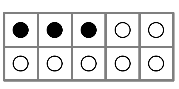 large ten frame showing three