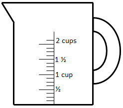 measuring cup with graduation scale up to 2 cups