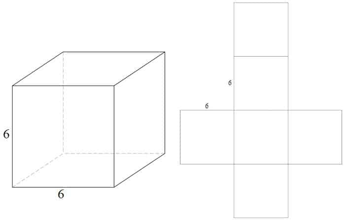 3d image of a cube with sides measuring 6 linear units
