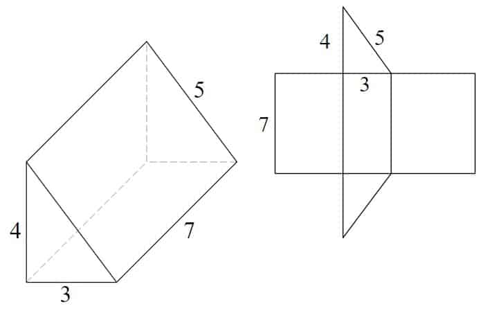 3d triangular prism with 3-4-5 triangle and 7 units in length