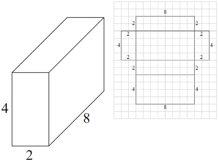 3d image of rectangular prism with sides of 2,4, and 8