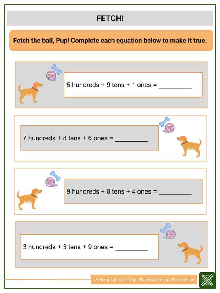 Adding Up To 4-Digit Numbers Using Place Value Worksheets(3)