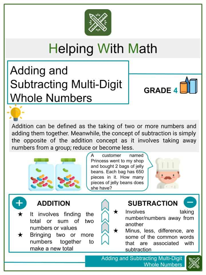 Adding and Subtracting Multi-Digit Whole Numbers Worksheets
