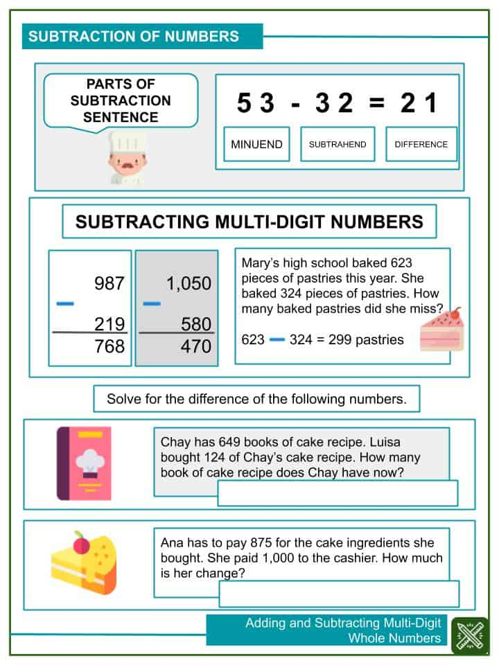 Adding and Subtracting Multi-Digit Whole Numbers Worksheets(2)