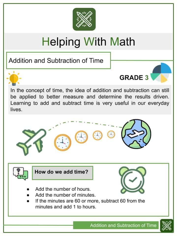 Addition and Subtraction of Time Worksheets