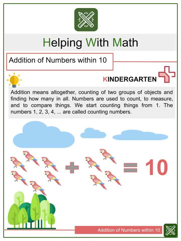 Addition of Numbers within 10 Worksheets