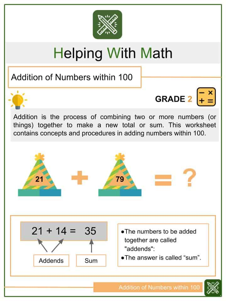 Addition of Numbers within 100 Worksheets