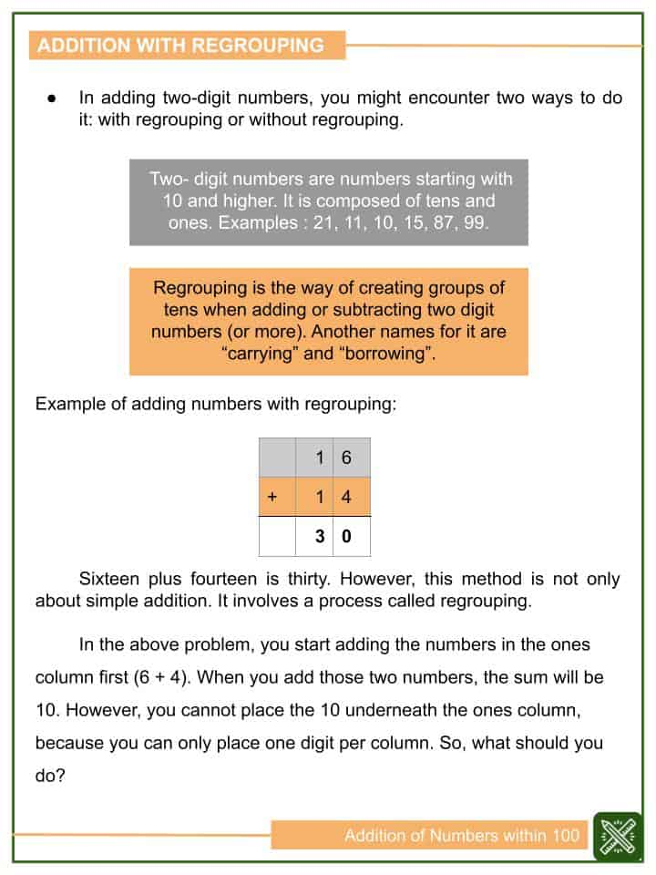 Addition of Numbers within 100 Worksheets(1)