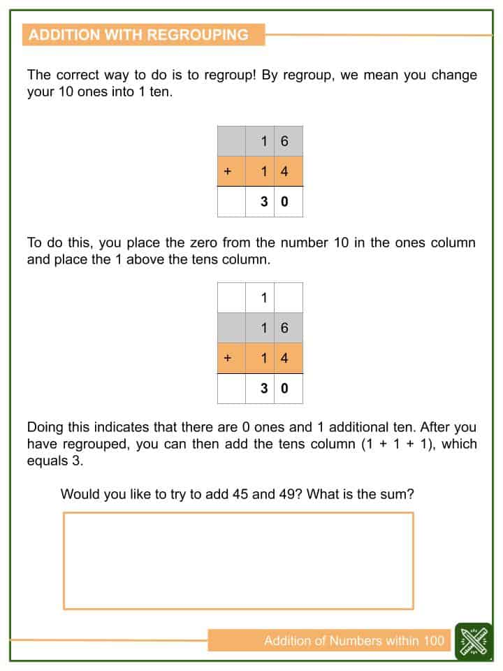 Addition of Numbers within 100 Worksheets(2)
