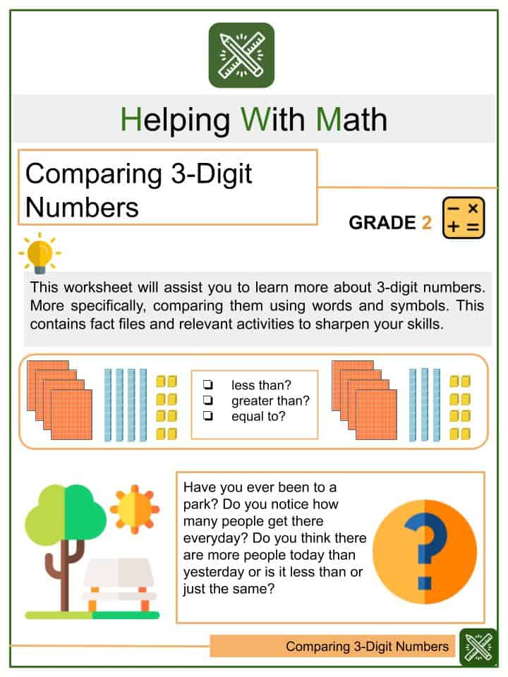 Comparing 3-Digit Numbers Worksheets