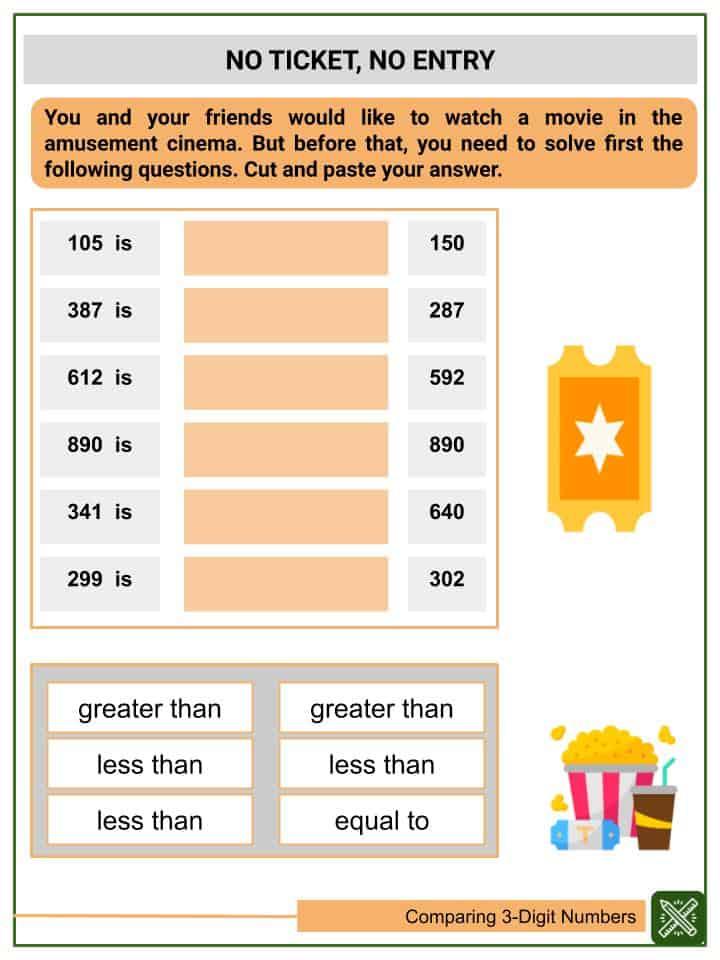 Comparing 3-Digit Numbers Worksheets(3)