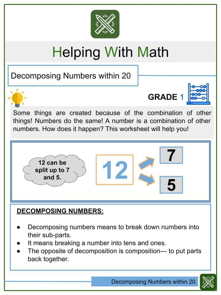 Decomposing Numbers within 20 Worksheets