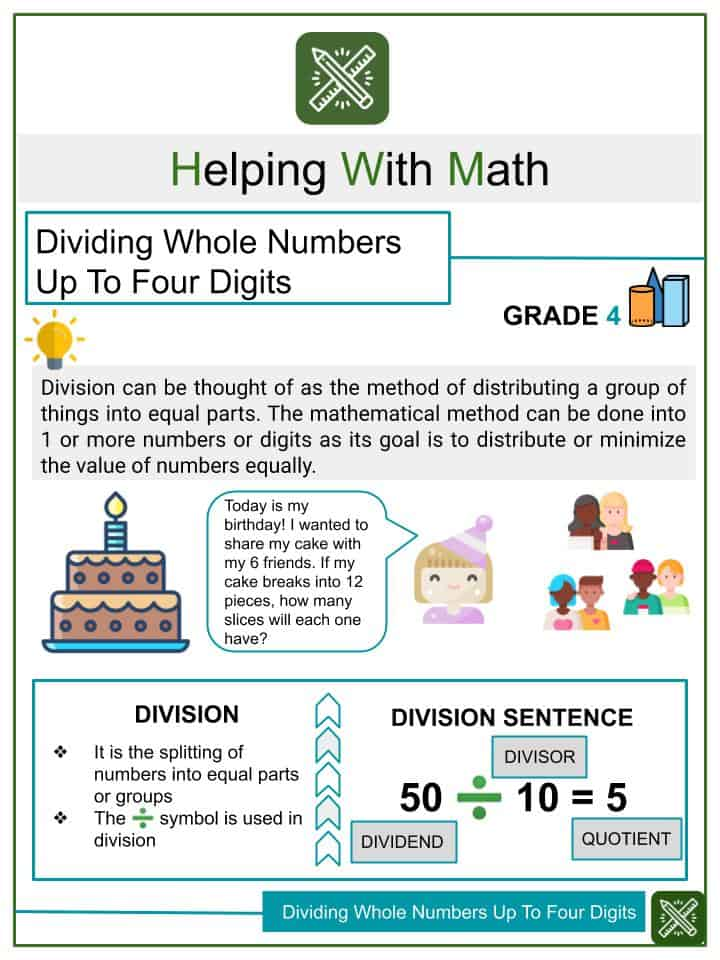 Dividing Whole Numbers Up To Four Digits Worksheets
