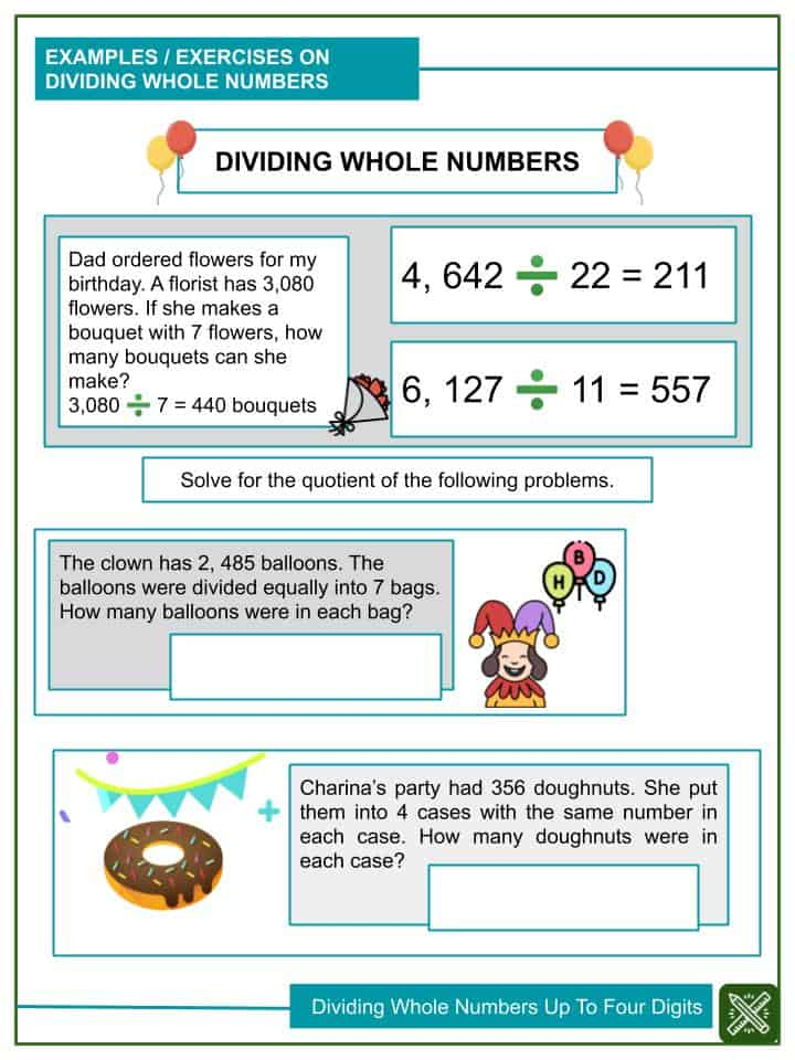 Dividing Whole Numbers Up To Four Digits Worksheets(1)