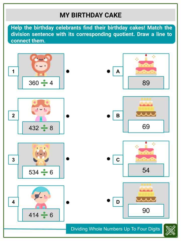 Dividing Whole Numbers Up To Four Digits Worksheets(2)