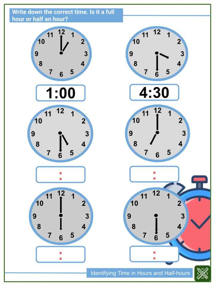Identifying Time in Hours and Half-hours(2)