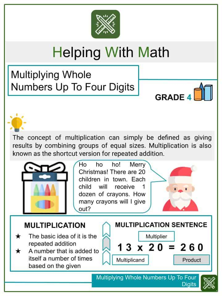 Multiplying Whole Numbers Up To Four Digits Worksheets