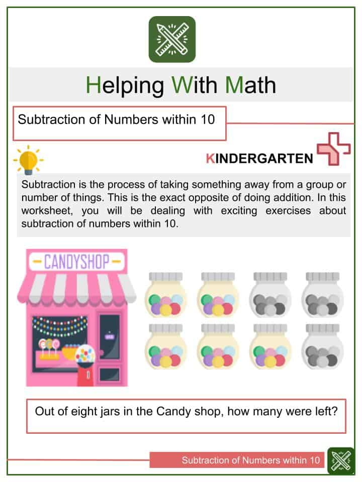 Subtraction of Numbers within 10 Worksheets