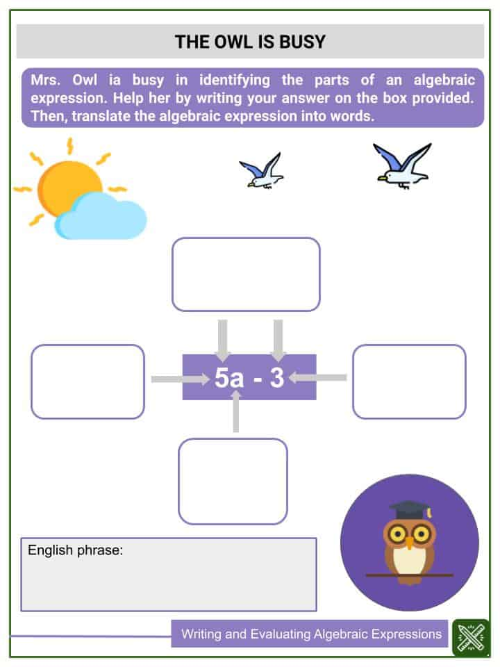 Writing and Evaluating Algebraic Expressions Worksheets(3)