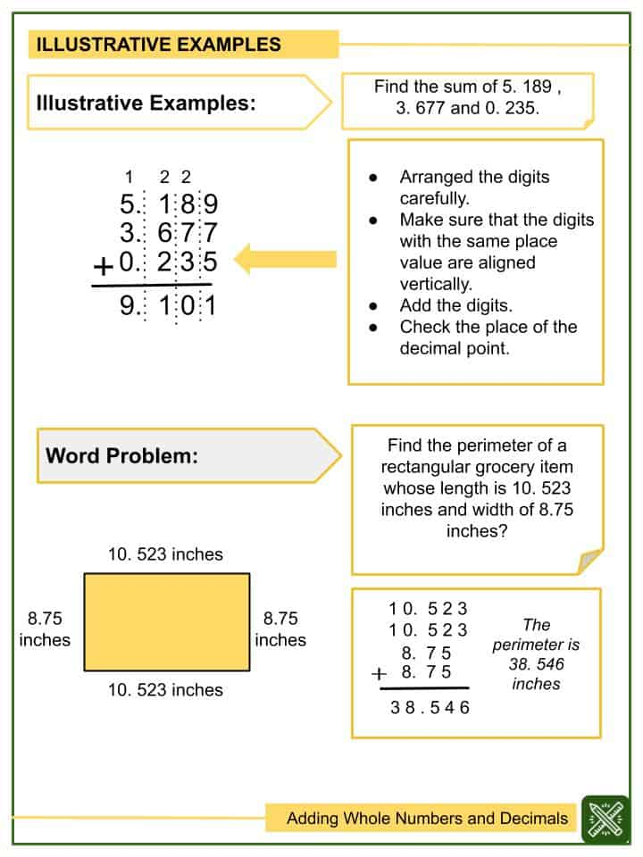 Adding Whole Numbers and Decimals (Tenths to Thousandths) Worksheets(2)