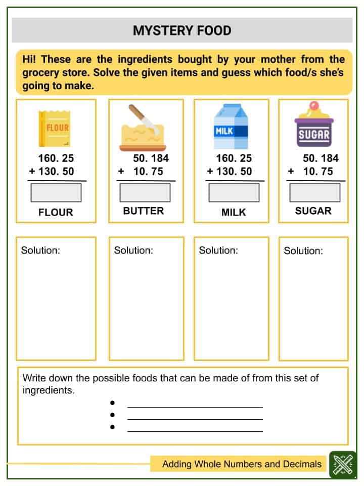 Adding Whole Numbers and Decimals (Tenths to Thousandths) Worksheets(3)