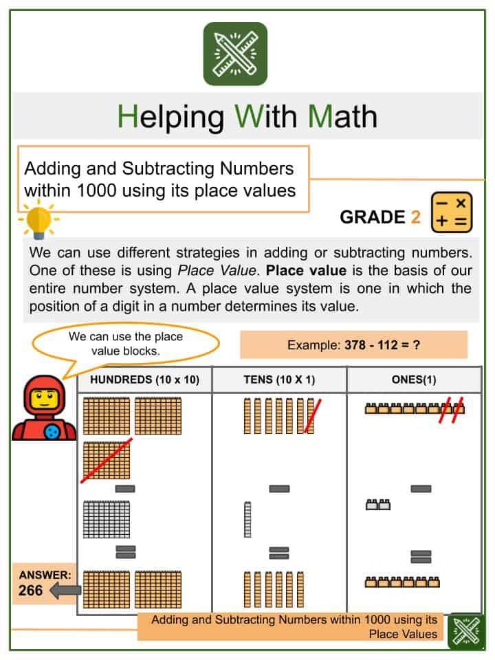 Adding and Subtracting Numbers within 1000 Using its Place Values Worksheets