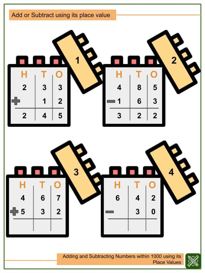 Adding and Subtracting Numbers within 1000 Using its Place Values Worksheets(2)