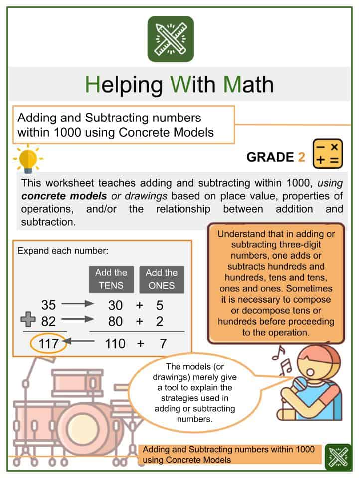 Adding and Subtracting Numbers within 1000 using Concrete Models Worksheets