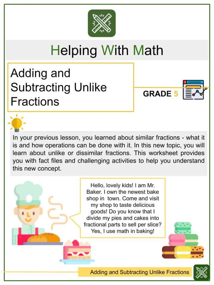 Adding and Subtracting Unlike Fractions Worksheets