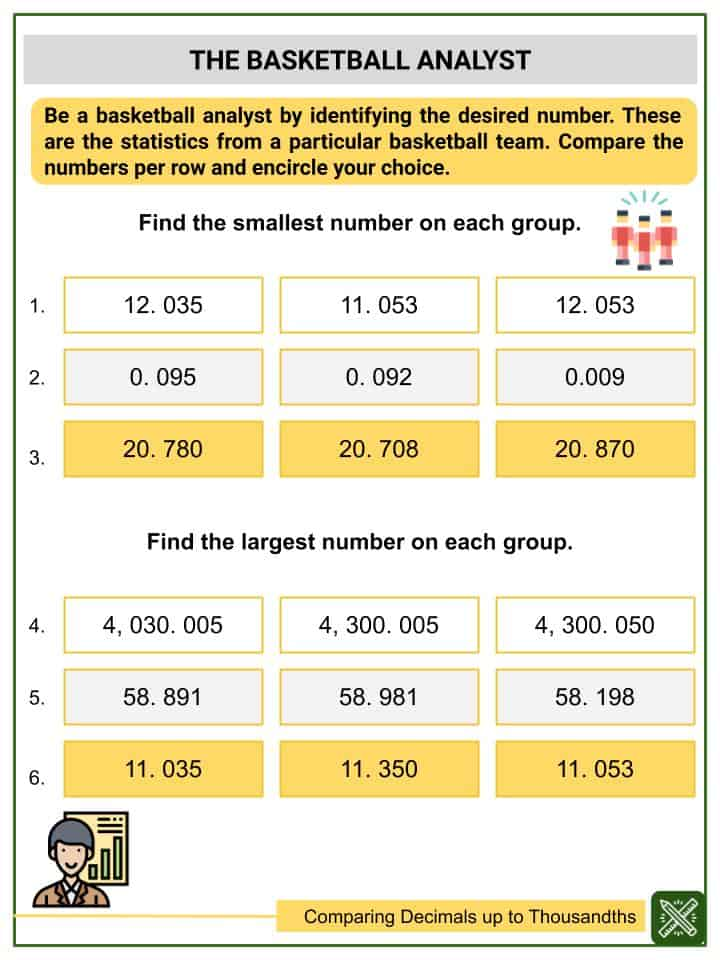 Comparing Decimals Up To Thousandths Worksheets(3)