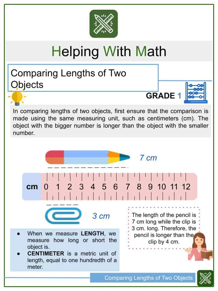 Comparing Lengths of Two Objects Worksheets