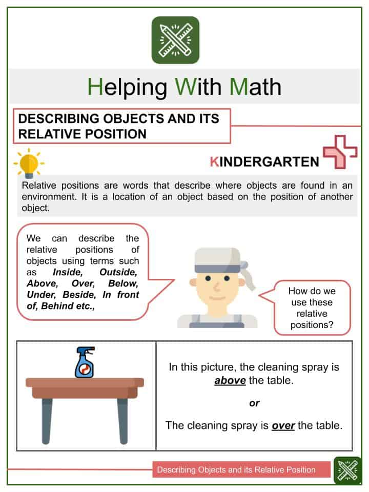 Describing Objects and its Relative Position Worksheets