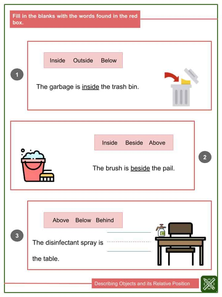Describing Objects and its Relative Position Worksheets(2)