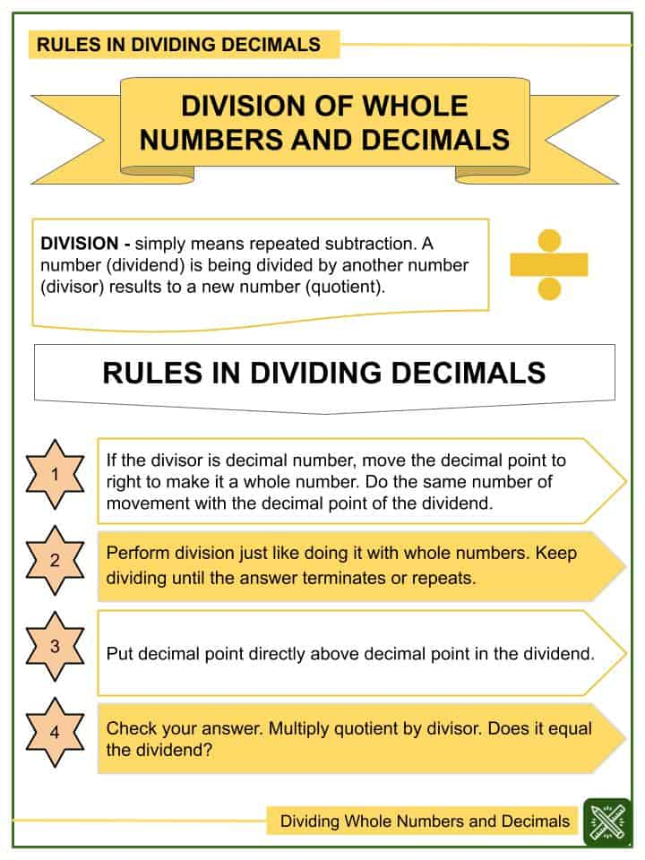 Dividing Whole Numbers and Decimals (Tenths to Thousandths) Worksheets(1)