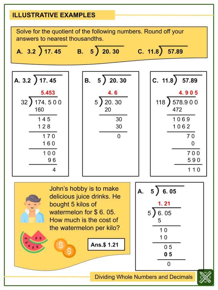 Dividing Whole Numbers and Decimals (Tenths to Thousandths) Worksheets(2)