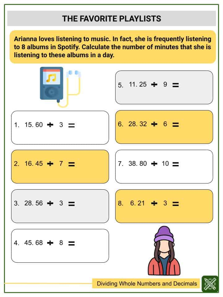 Dividing Whole Numbers and Decimals (Tenths to Thousandths) Worksheets(3)