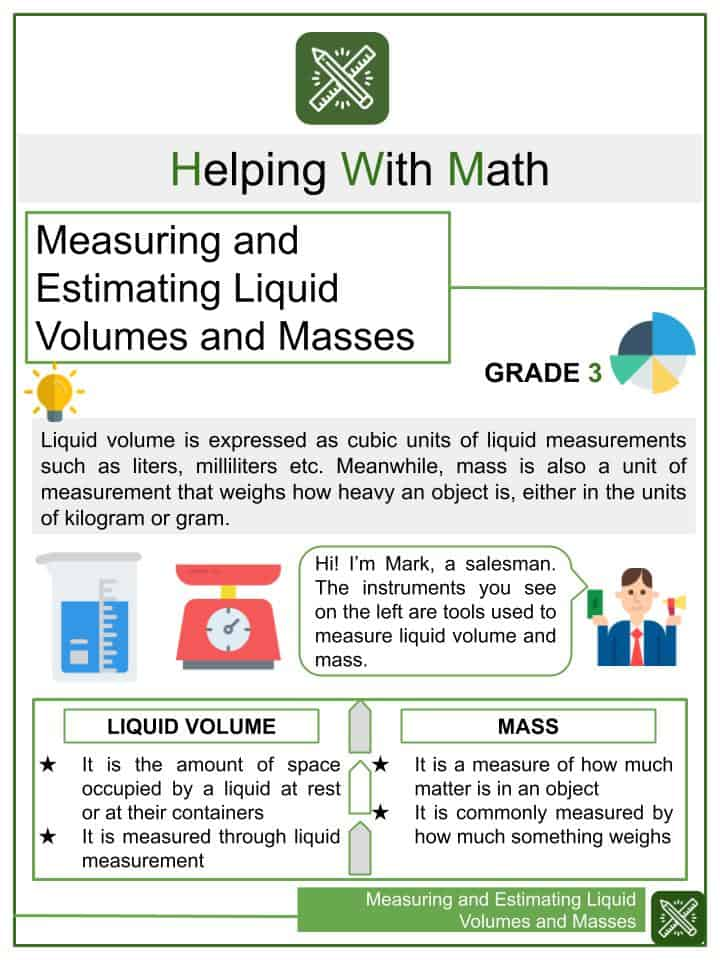 Measuring and Estimating Liquid Volumes and Masses Worksheets