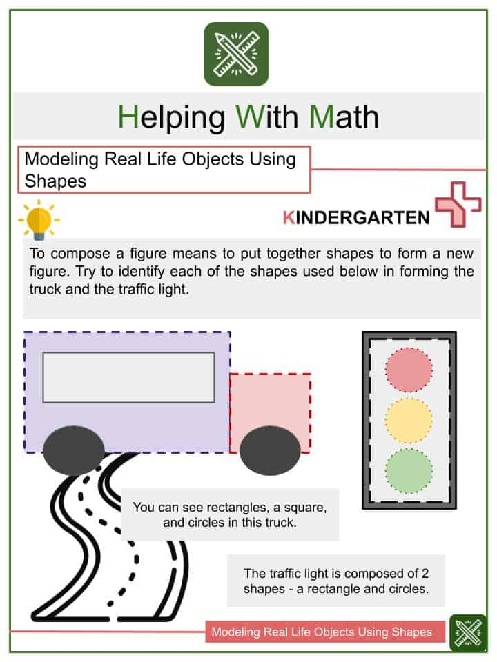 Modeling Real Life Objects Using Shapes Worksheets