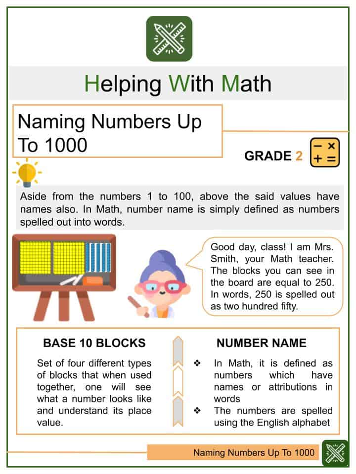 Naming Numbers Up To 1000 Worksheets