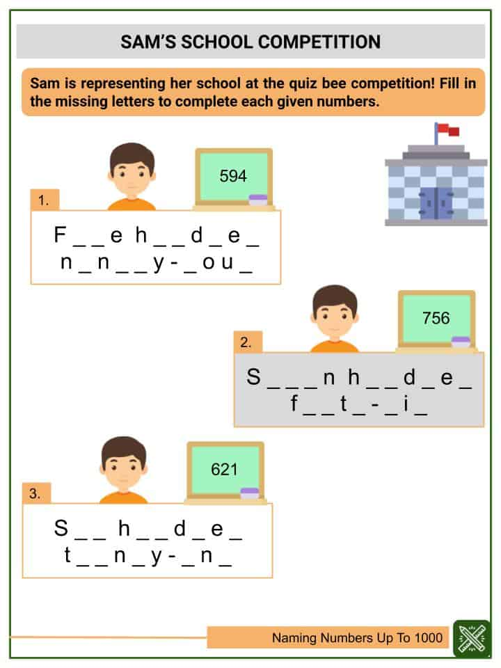 Naming Numbers Up To 1000 Worksheets(3)