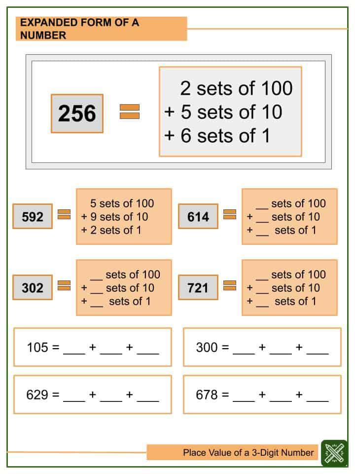 Place Value of a 3-digit Number Worksheets(2)