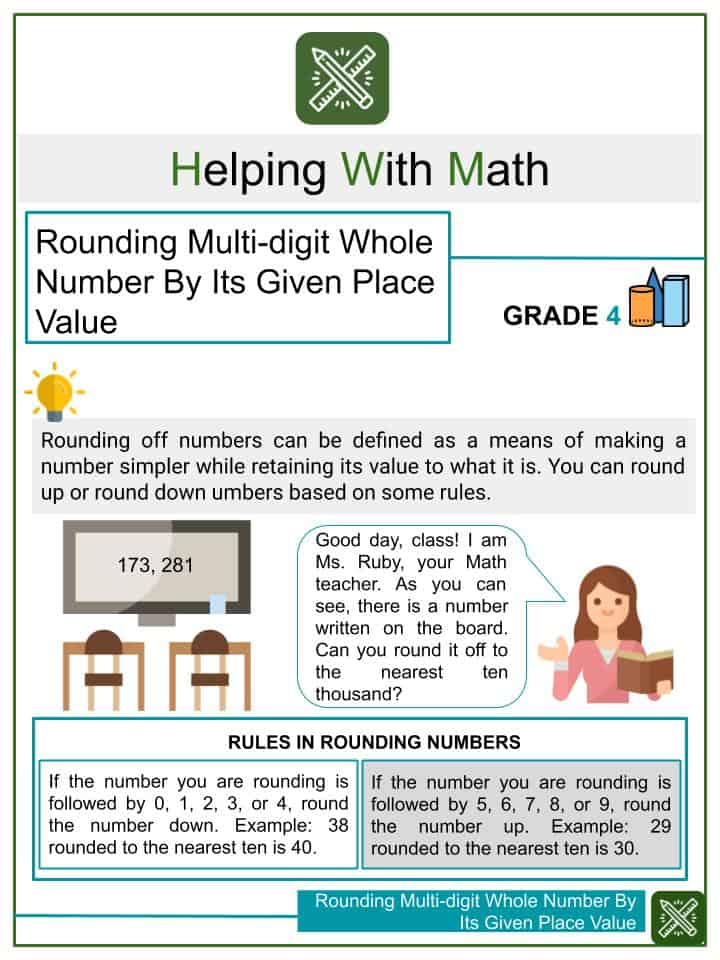 Rounding Multi-digit Whole Number By Its Given Place Value Worksheets