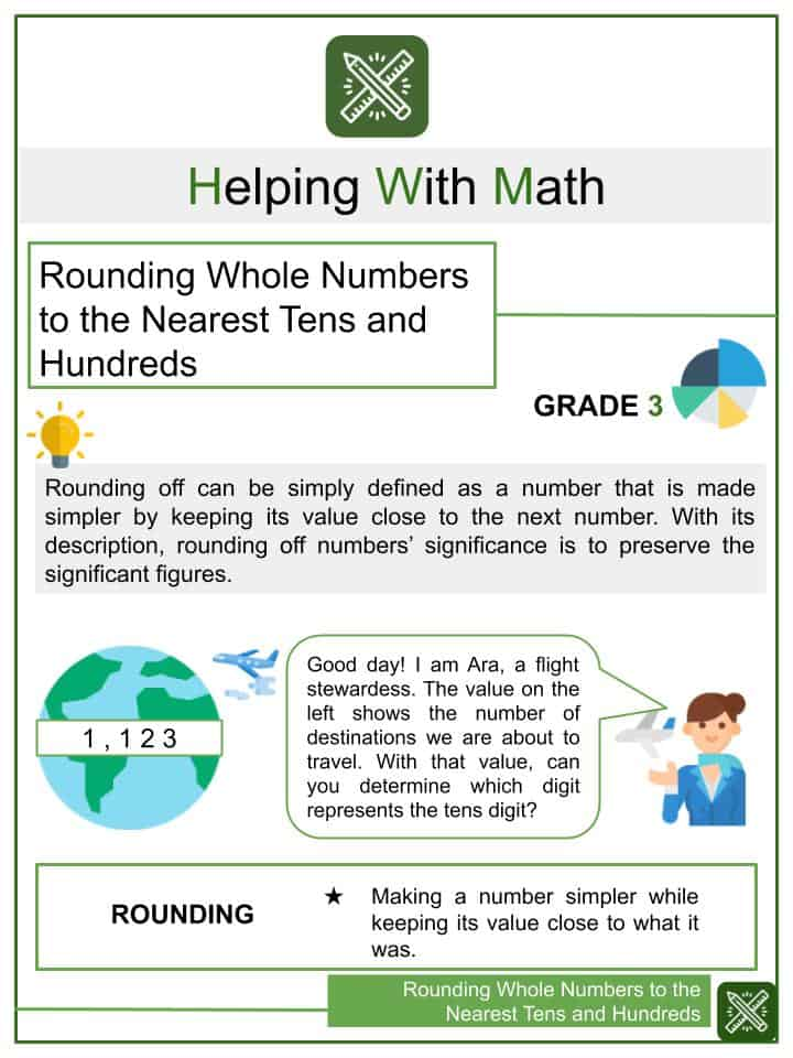 Rounding Whole Numbers to the Nearest Tens and Hundreds Worksheets