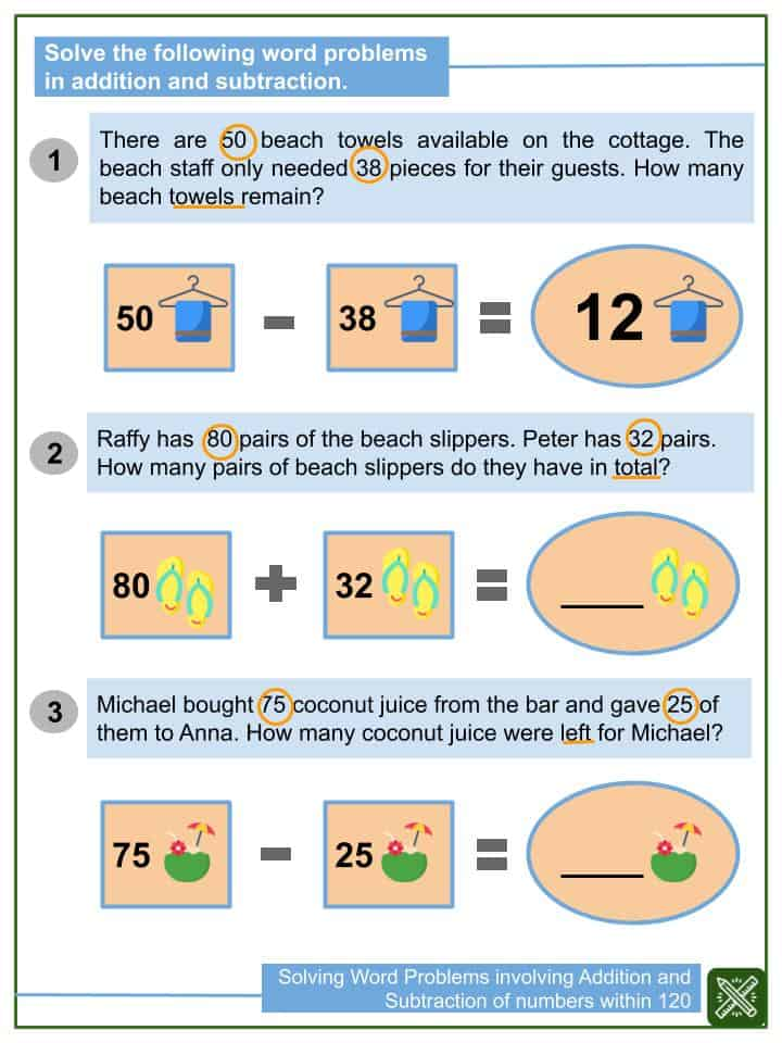 Solving Word Problems involving Addition and Subtraction of numbers within 120 Worksheets(2)