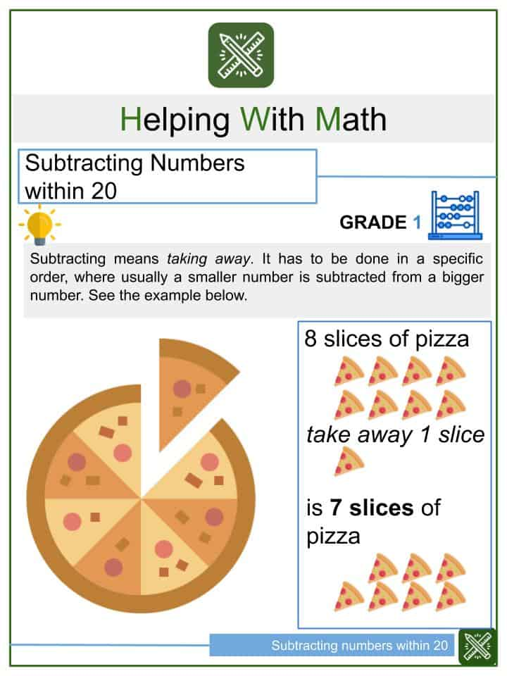 Subtracting Numbers within 20 Worksheets