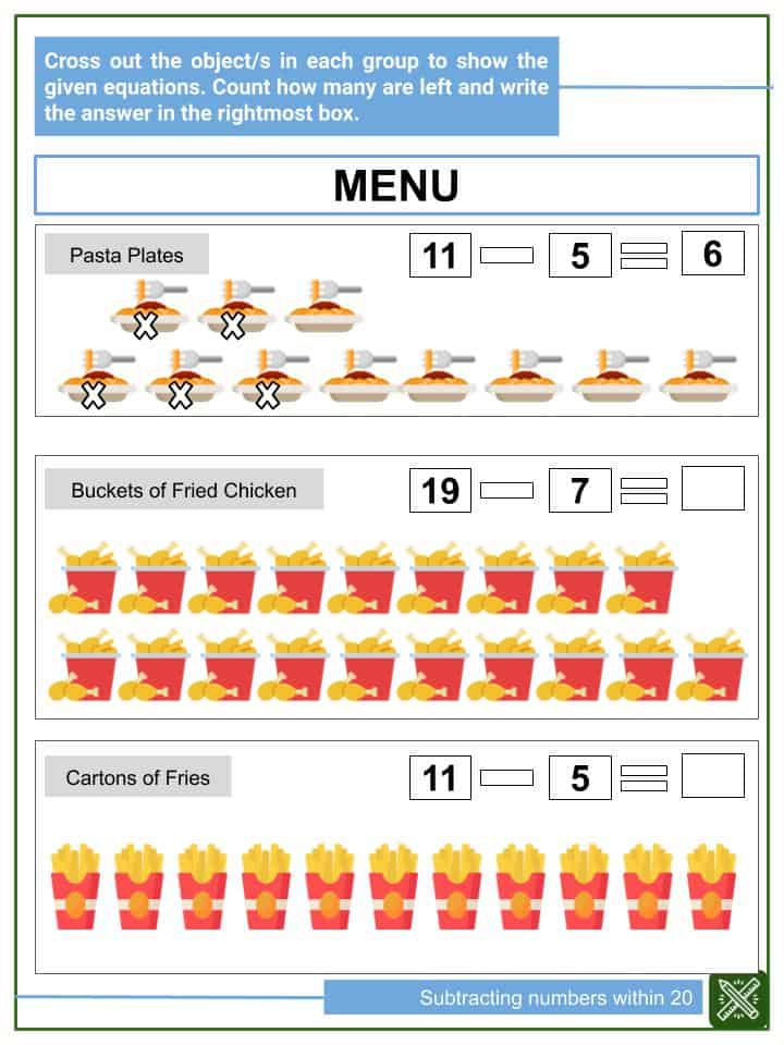 Subtracting Numbers within 20 Worksheets(1)