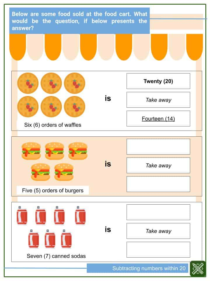 Subtracting Numbers within 20 Worksheets(2)